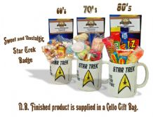 Star Trek Badge Mug with/without a space travelling selection of 60's/70s or 80's retro sweets.